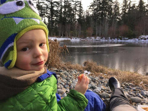 Picnic at frozen pond